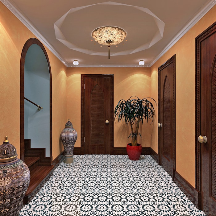 Asian style corridor, hallway & stairs by Aledoconcept Asian