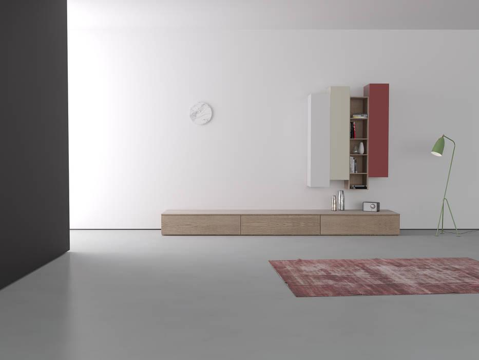 Vista Frontale parete zona giorno: Soggiorno in stile in stile Minimalista di Walls 3D Vizualization