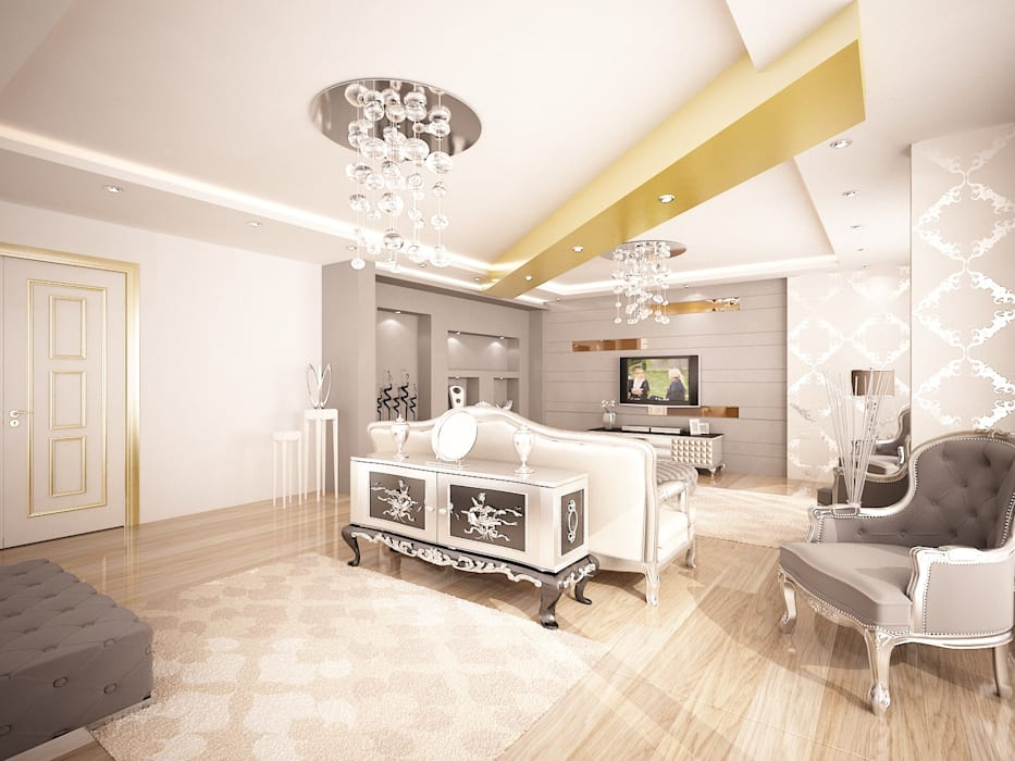 Sinem ARISOY KEÇECİ Klasik Oturma Odası Sinar İç mimarlık Klasik