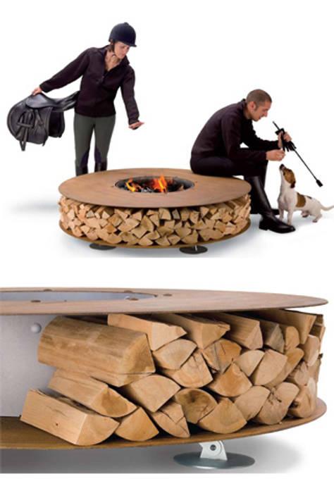 zero firepit: minimalist  by wood-fired oven, Minimalist