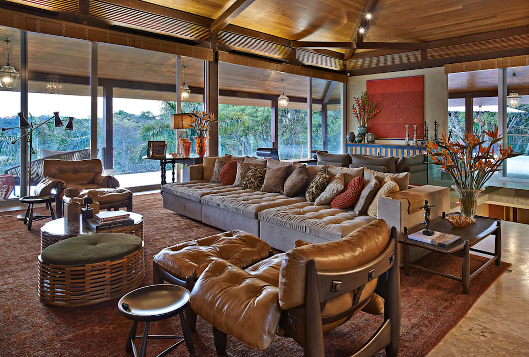 Rustic style media rooms by Beth Nejm Rustic