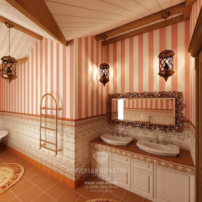Дизайн-проект ванной комнаты в  доме из бруса: Ванные комнаты в . Автор – Студия дизайна интерьера Руслана и Марии Грин, Классический