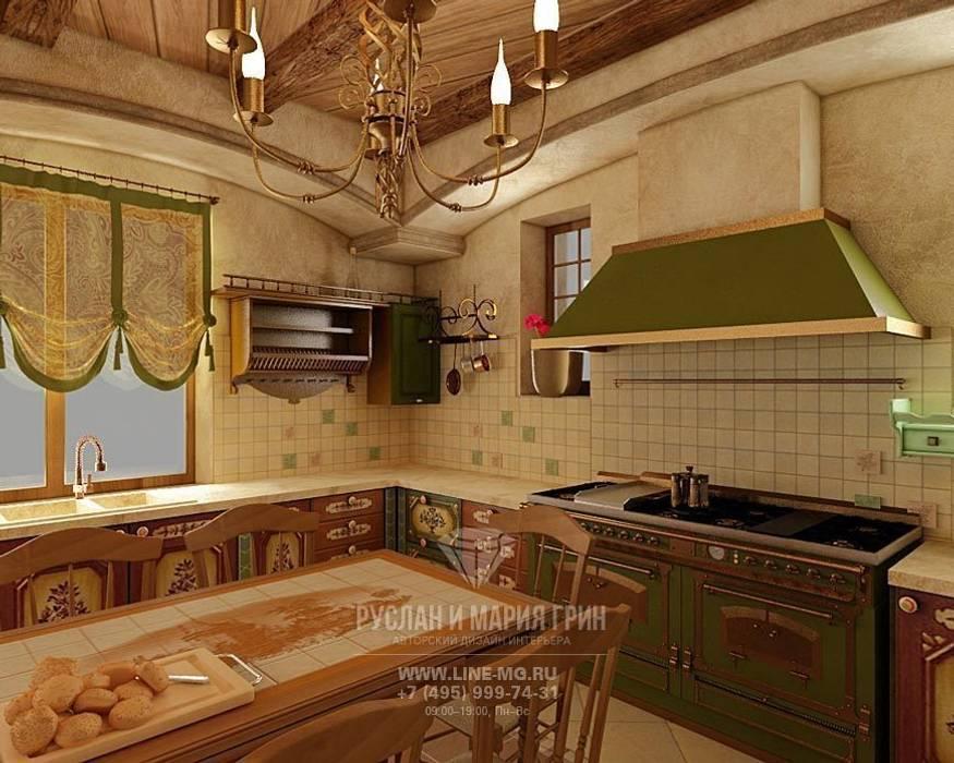 Интерьер кухни в дизайне дома из бруса Кухня в классическом стиле от Студия дизайна интерьера Руслана и Марии Грин Классический