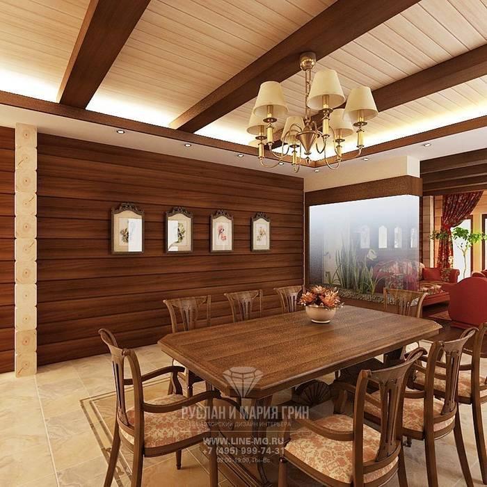 Интерьер столовой в дизайне дома из бруса Студия дизайна интерьера Руслана и Марии Грин Столовая комната в классическом стиле