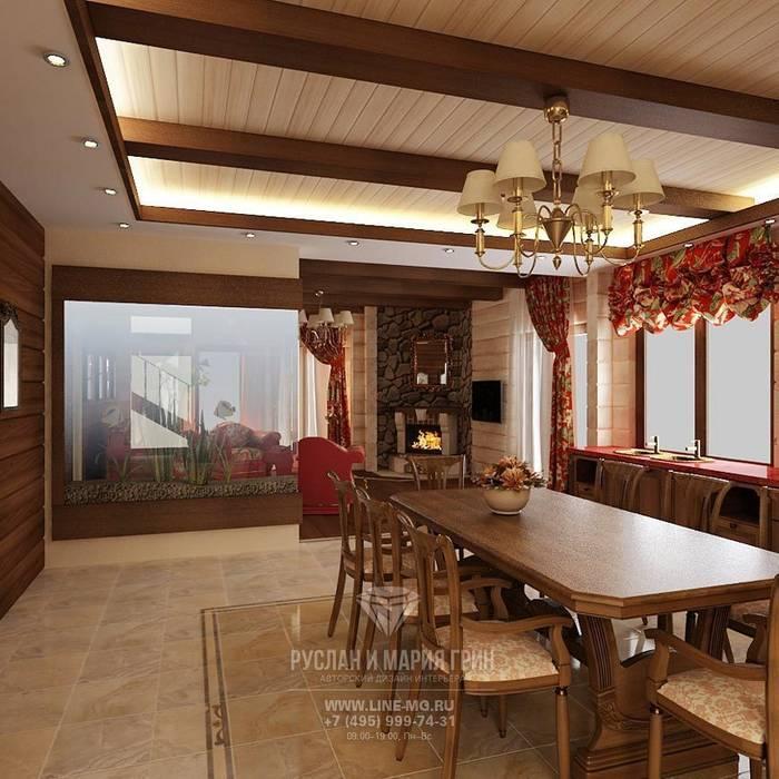 Интерьер столовой в дизайне дома из бруса: Столовые комнаты в . Автор – Студия дизайна интерьера Руслана и Марии Грин