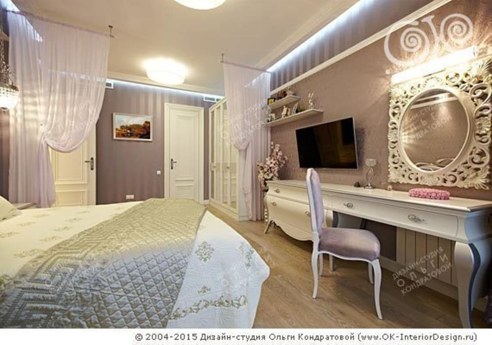 Интерьер спальни в квартире на Мытной: Спальни в . Автор – Дизайн студия Ольги Кондратовой,