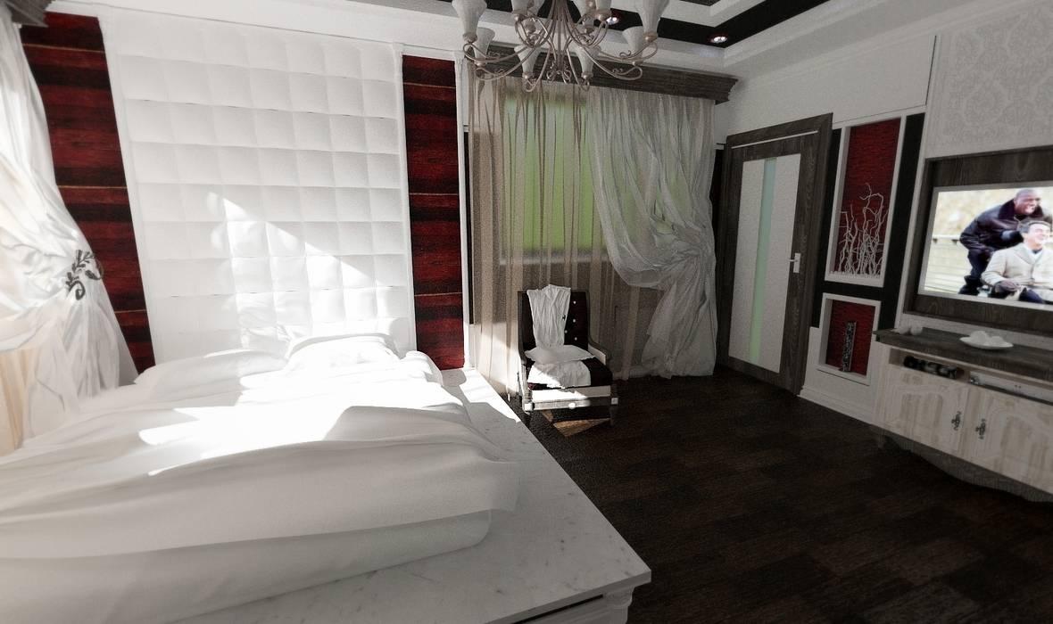 Вид с входа в помещение.: Спальни в . Автор – Nada-Design Студия дизайна., Модерн