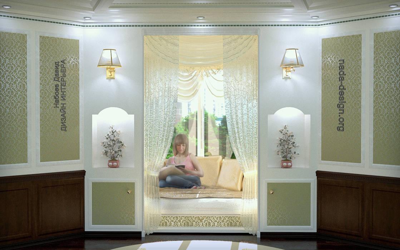 читальное ложе в круглом балконе.: Tерраса в . Автор – Nada-Design Студия дизайна.