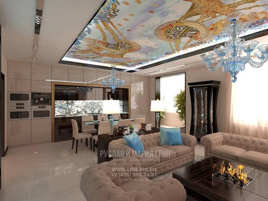 Интерьер гостиной в стиле модерн Гостиная в стиле модерн от Студия дизайна интерьера Руслана и Марии Грин Модерн