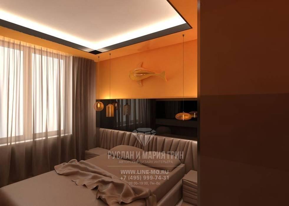 Дизайн интерьера спальни в современном стиле Спальня в стиле модерн от Студия дизайна интерьера Руслана и Марии Грин Модерн