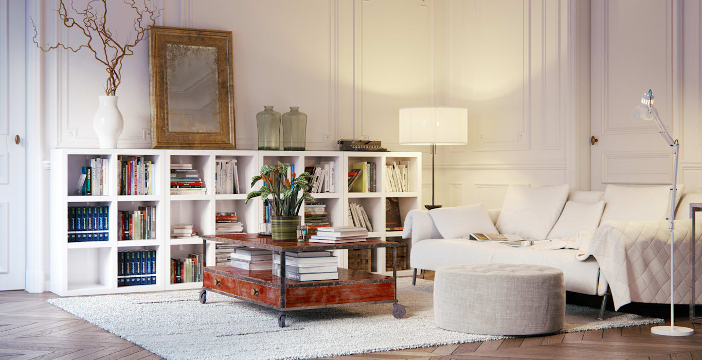 Book Shelving Unit:  Living room by Piwko-Bespoke Fitted Furniture,