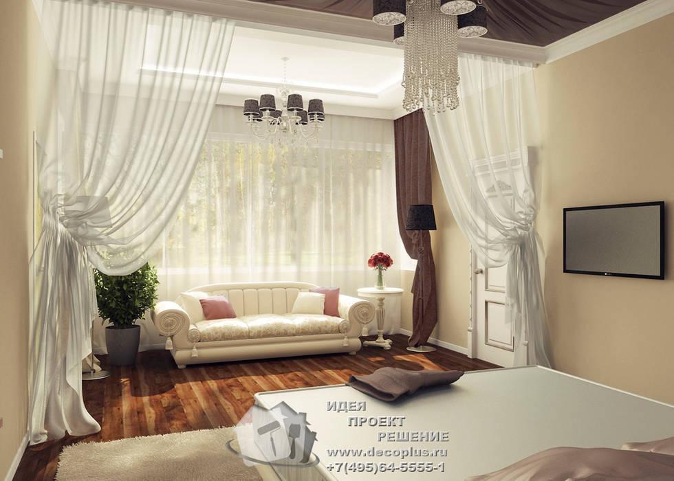 Диван и кофейный столик в интерьере спальнии: Спальни в . Автор – Бюро домашних интерьеров