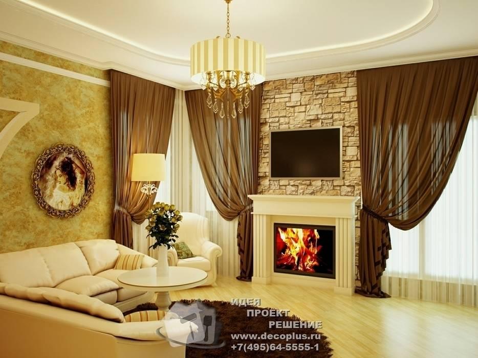 Камин в интерьере гостиной в стиле прованс: Гостиная в . Автор – Бюро домашних интерьеров, Кантри