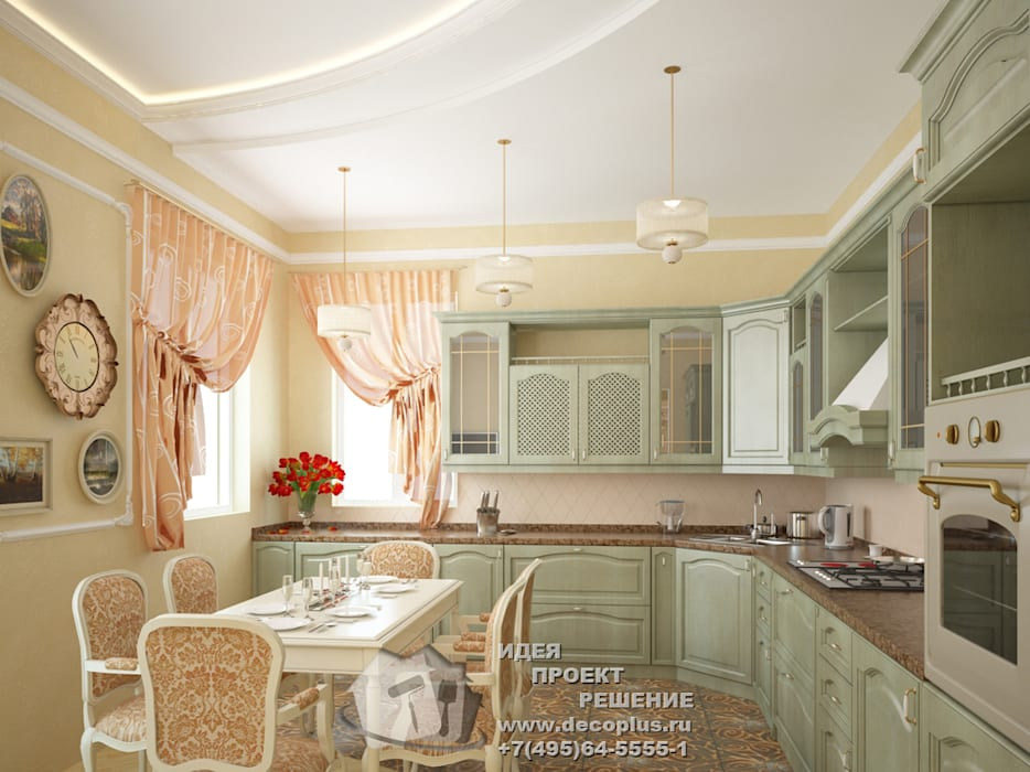 Интерьер кухни с зелеными и персиковыми акцентами Бюро домашних интерьеров Кухня в стиле кантри