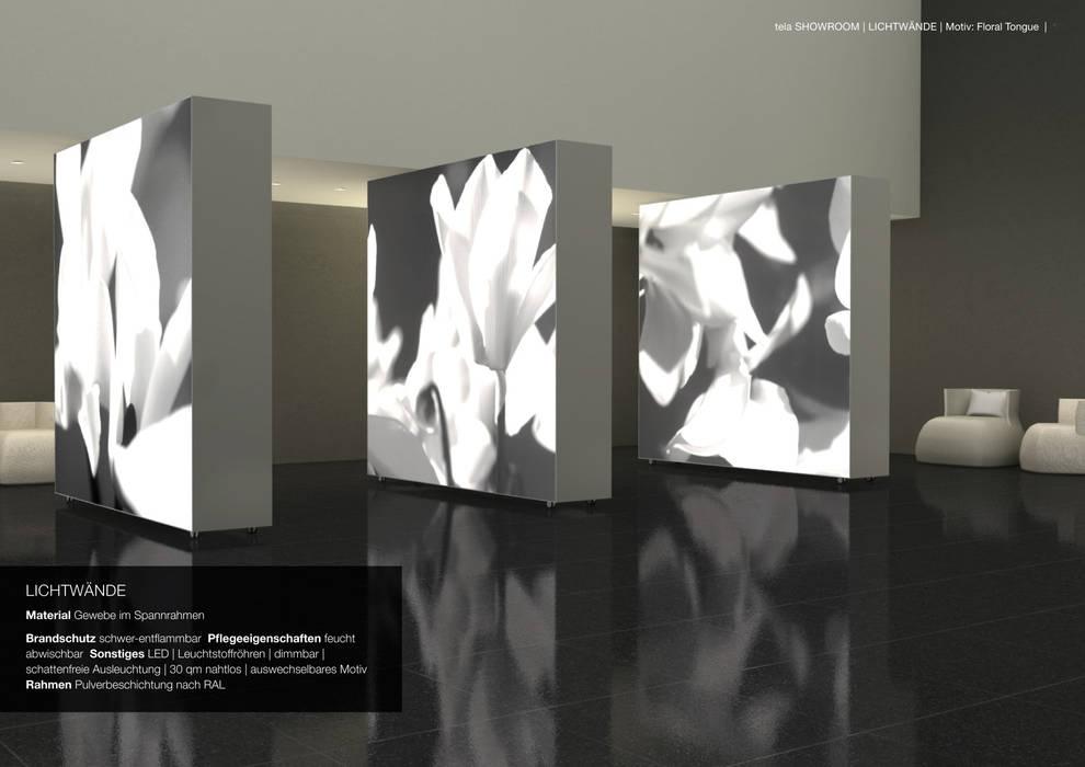 grossflächige mobile Leuchtkästen als Trennwand beidseitig tela-design Moderne Hotels