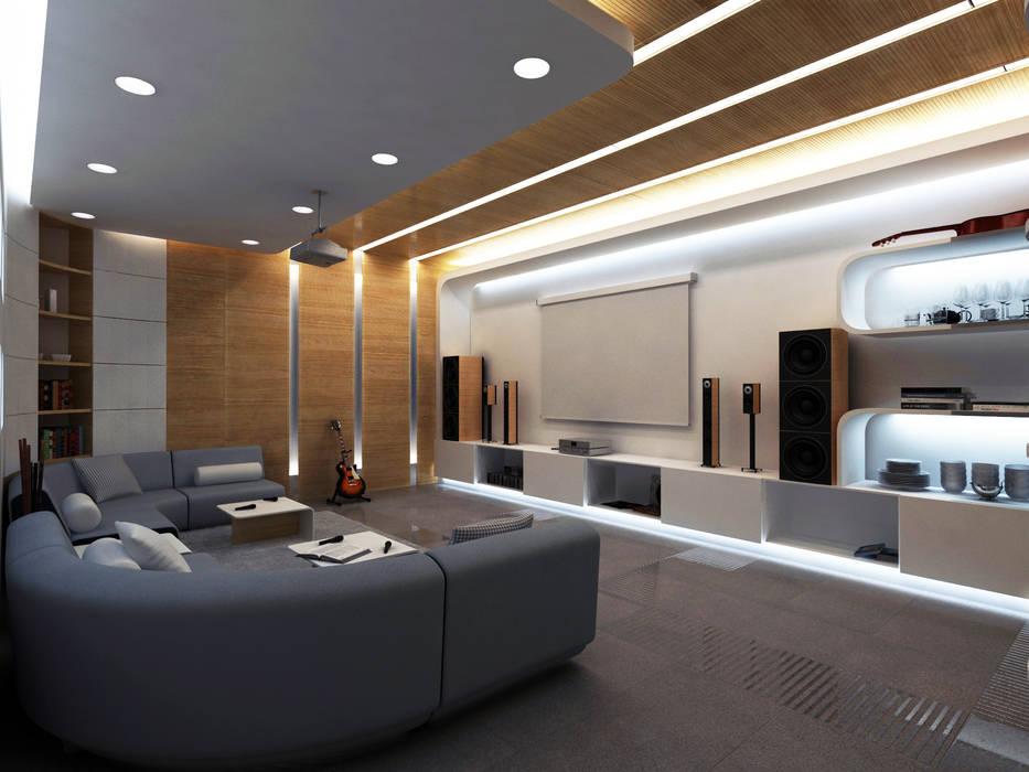 Salas de entretenimiento de estilo moderno de Lenz Architects Moderno