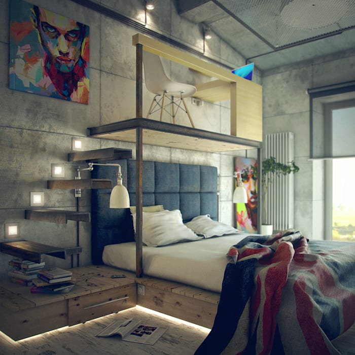 Industrial style bedroom by ToTaste.studio Industrial