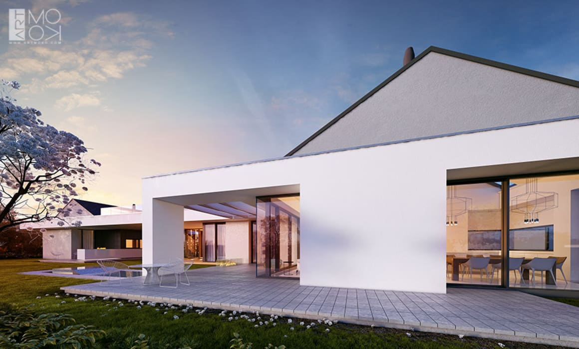 Dom parterowy z osobną przestrzenią dla gości Nowoczesne domy od Pracownia projektowa artMOKO Nowoczesny