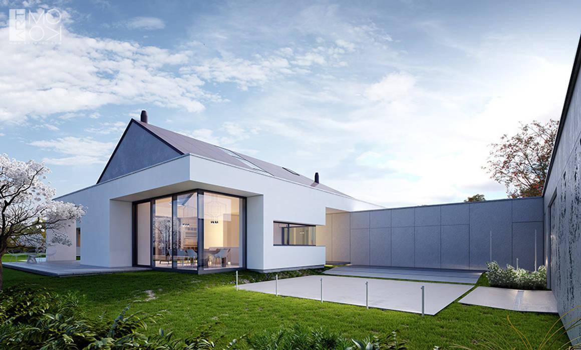 Podjazd oraz wejście do domu parterowego: styl , w kategorii Domy zaprojektowany przez Pracownia projektowa artMOKO