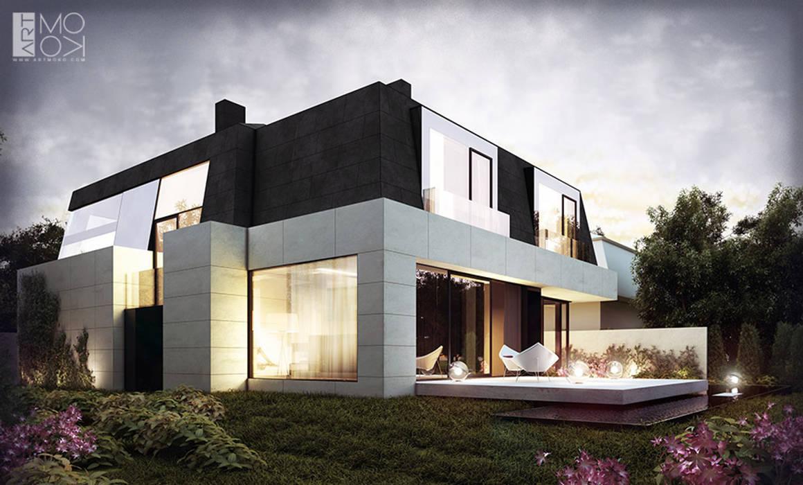 Rezydencja z licznymi przeszkleniami: styl nowoczesne, w kategorii Domy zaprojektowany przez Pracownia projektowa artMOKO