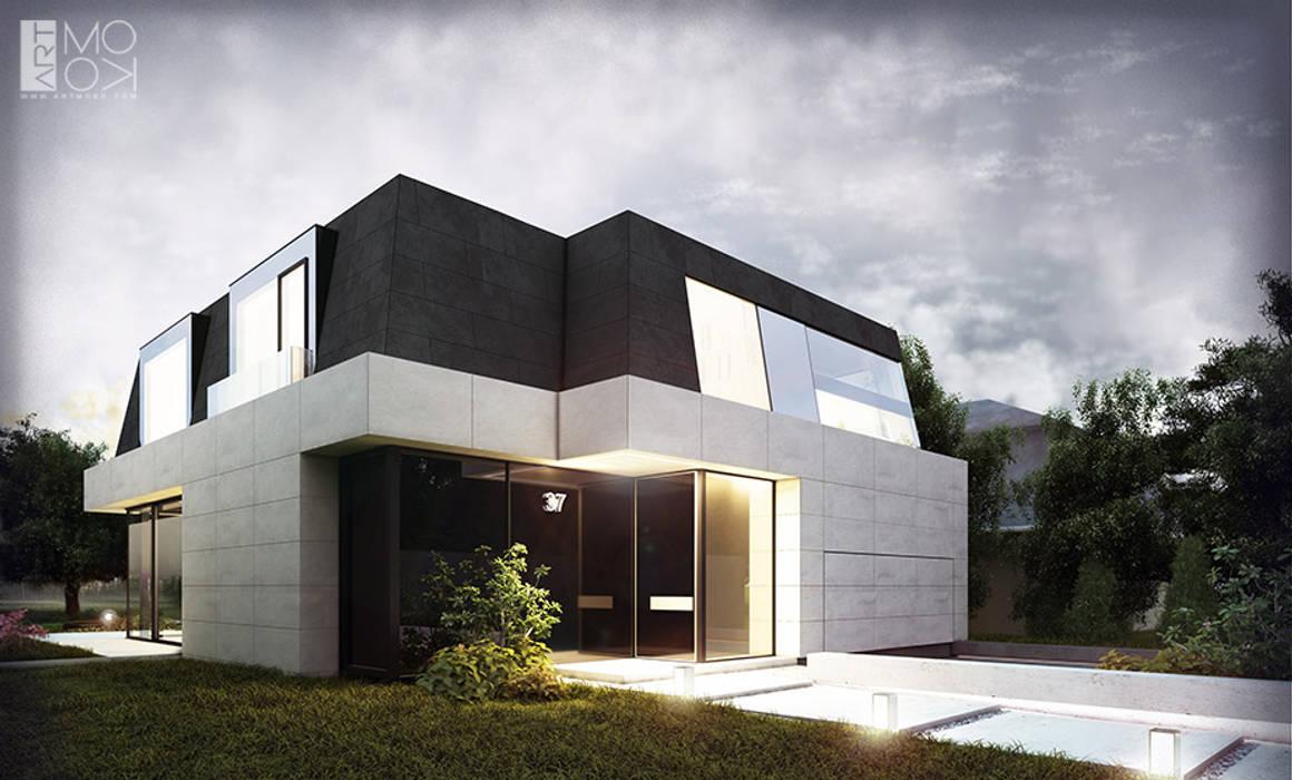 Nowoczesna rezydencja z klasycznym dachem mansardowym: styl , w kategorii Domy zaprojektowany przez Pracownia projektowa artMOKO,