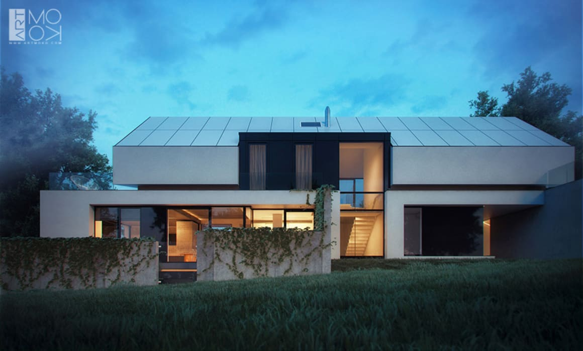 Ultra nowoczesna rezydencja pod Krakowem Nowoczesne domy od Pracownia projektowa artMOKO Nowoczesny