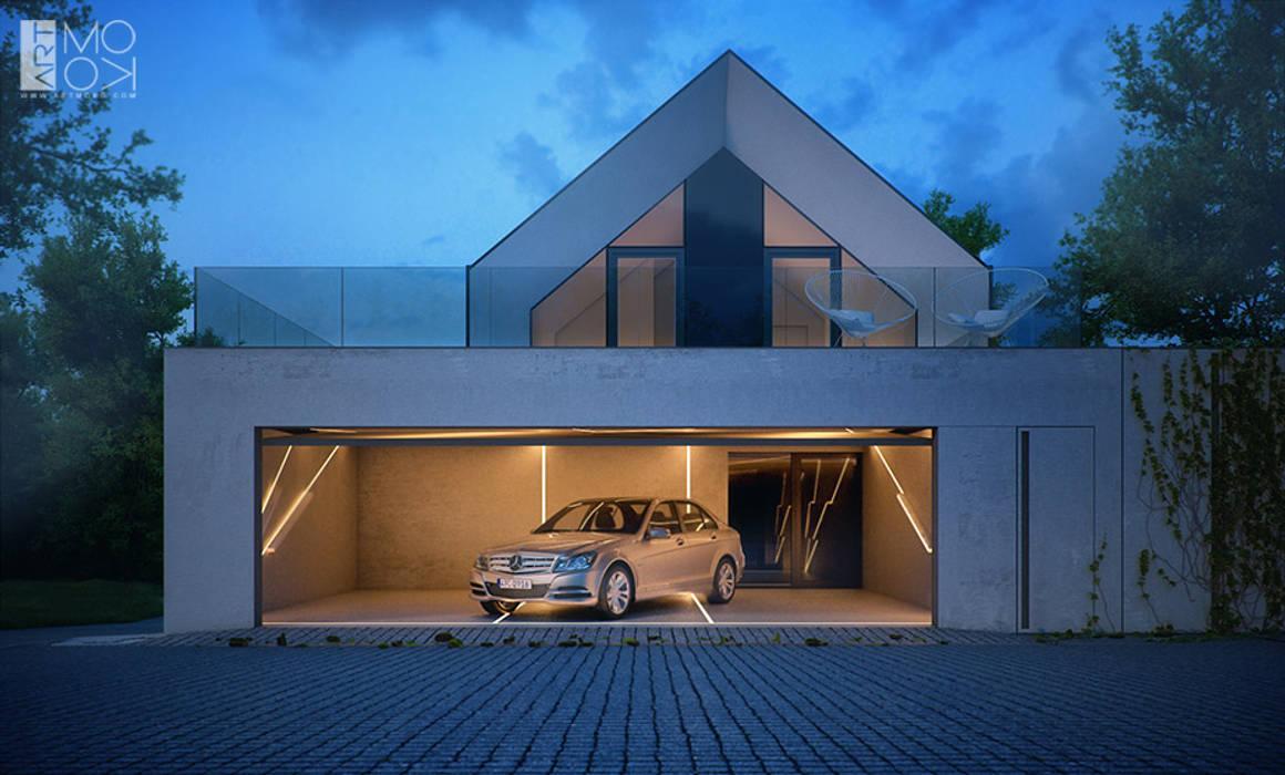 Nowoczesny 3 stanowiskowy garaż Pracownia projektowa artMOKO Nowoczesny garaż