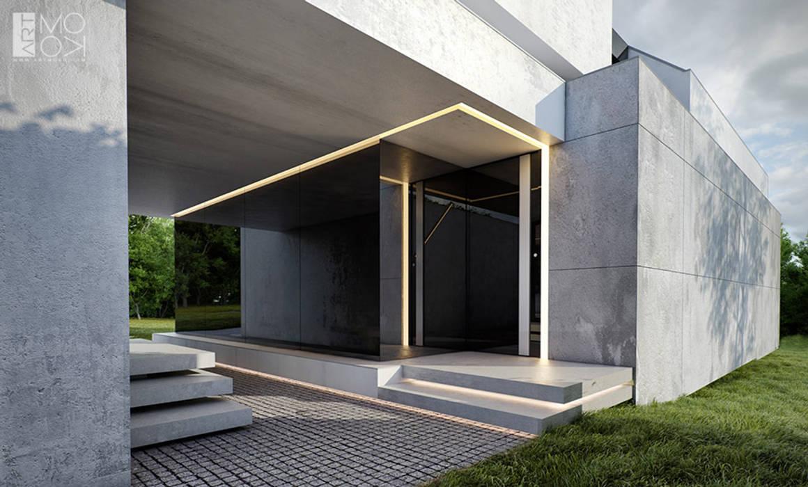 Wejście do nowoczesnej rezydencji: styl , w kategorii Domy zaprojektowany przez Pracownia projektowa artMOKO,