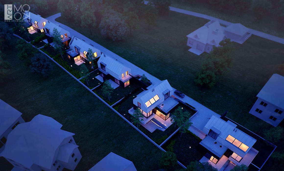 Widok na zabudowę szeregową z lotu ptaka: styl nowoczesne, w kategorii Domy zaprojektowany przez Pracownia projektowa artMOKO