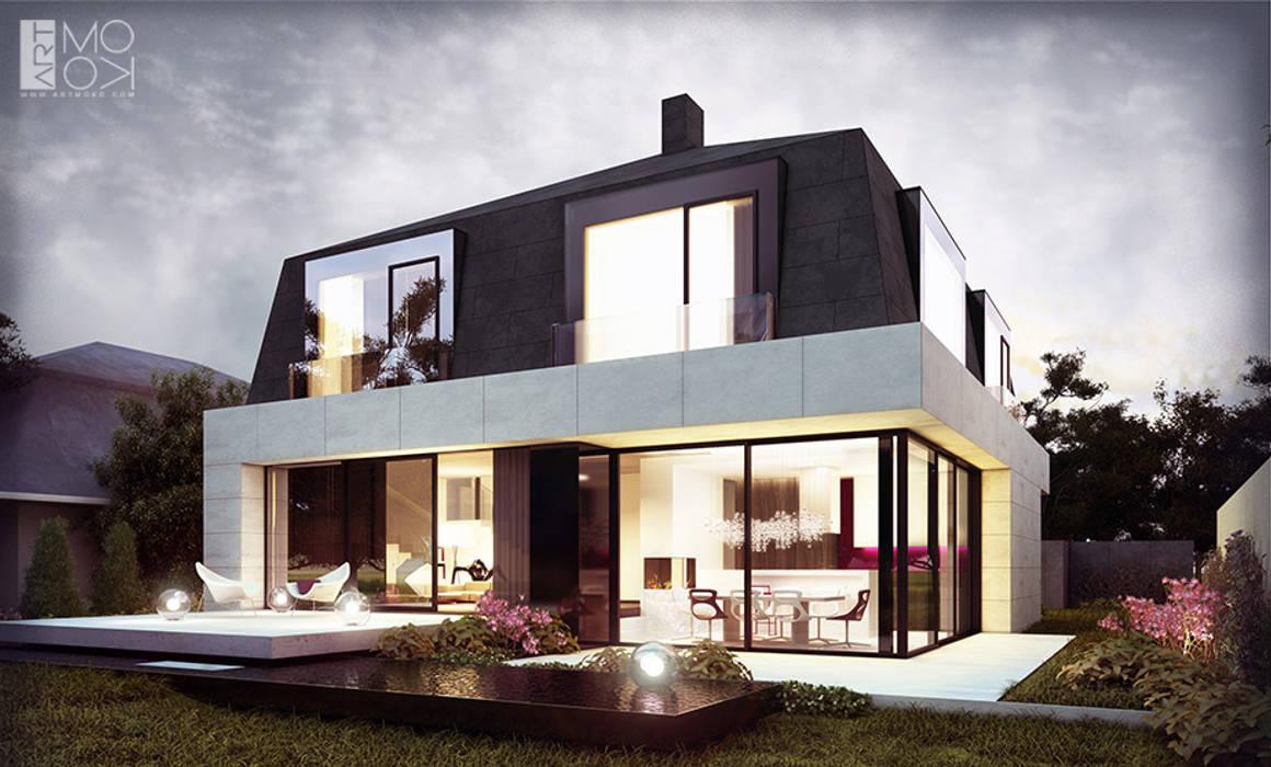 Nowoczesna rezydencja z tarasami: styl , w kategorii Domy zaprojektowany przez Pracownia projektowa artMOKO