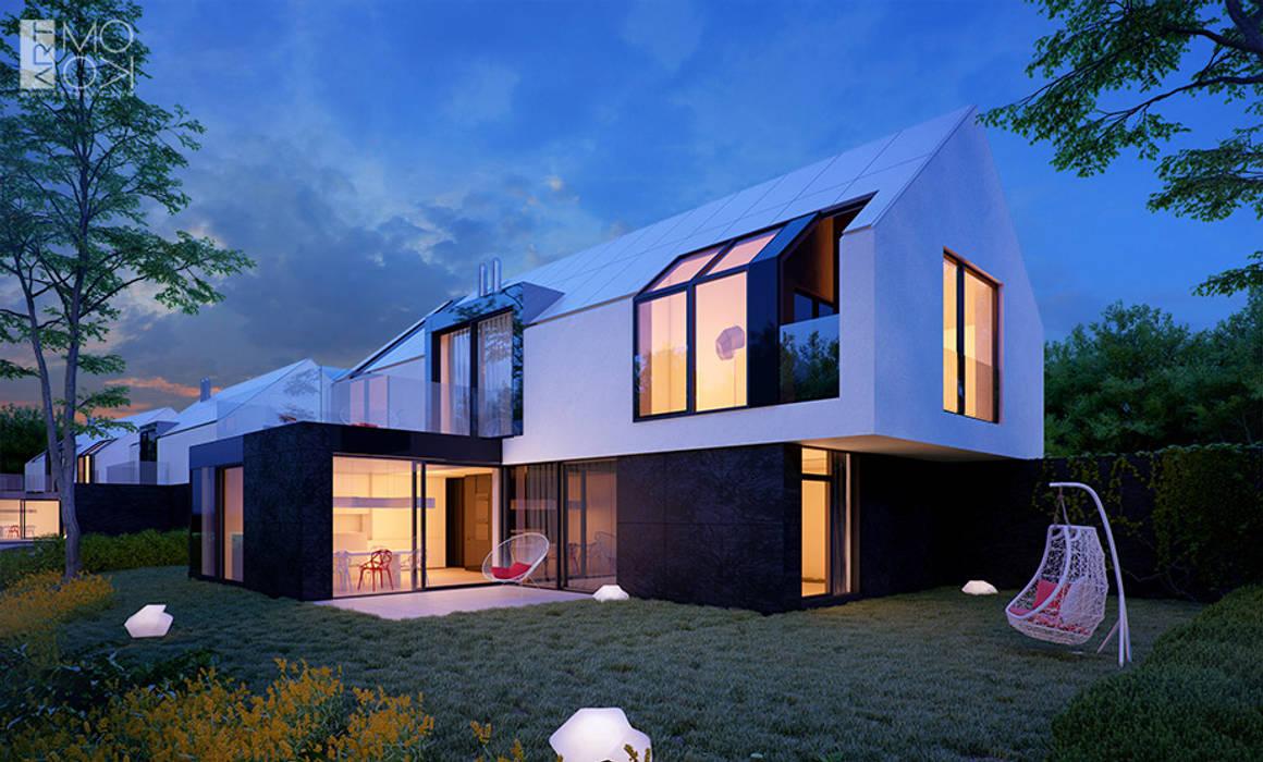 Nowoczesna zabudowa szeregowa: styl nowoczesne, w kategorii Domy zaprojektowany przez Pracownia projektowa artMOKO