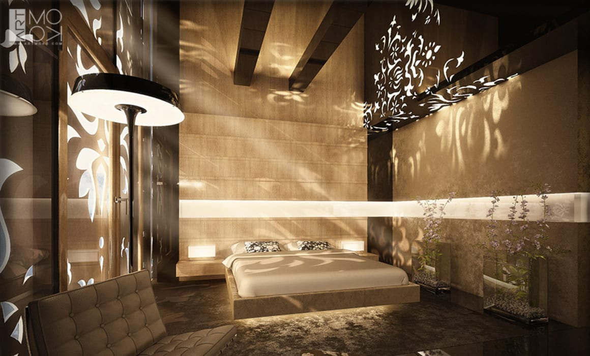 Sypialnia apartamentu hotelowego od Pracownia projektowa artMOKO Nowoczesny