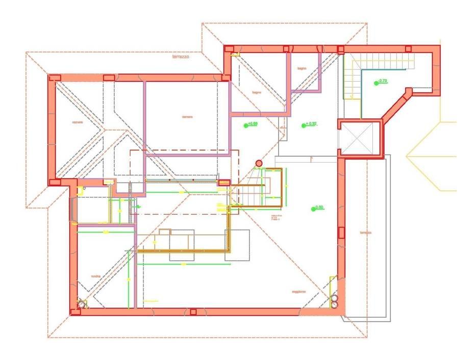 Progetto in pianta della porzione di Villa ristruturata: Soggiorno in stile in stile Moderno di maurizioborri