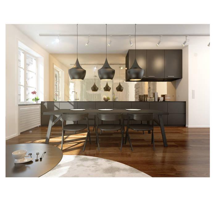 Aranżacja kuchni z wykorzystaniem lamp z serii Castelle.: styl , w kategorii Jadalnia zaprojektowany przez Ekotechnik24.pl - lampy na indywidualne zamówienie