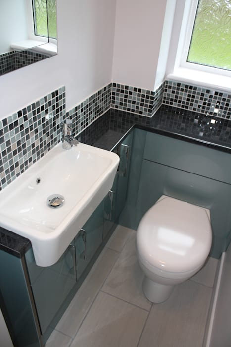 Salvador Grey Mosaic Room Setting Target Tiles Minimalist style bathroom