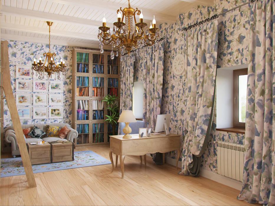 Библиотека Рабочий кабинет в эклектичном стиле от Студия дизайна интерьера Маши Марченко Эклектичный