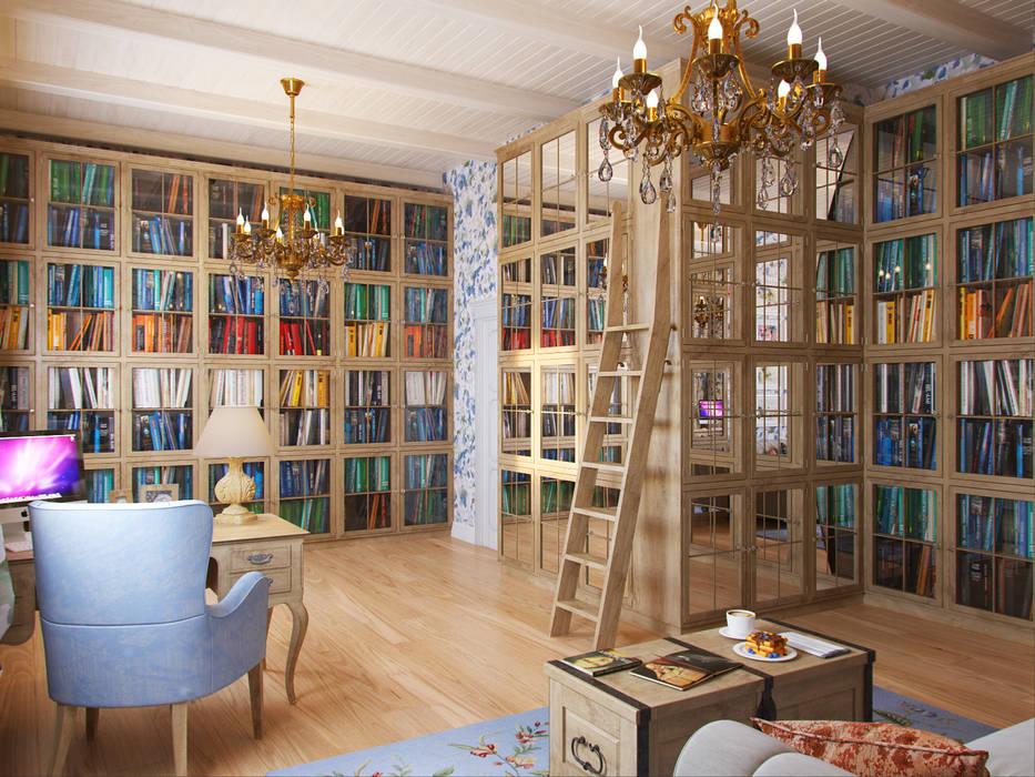 Библиотека Студия дизайна интерьера Маши Марченко Рабочий кабинет в эклектичном стиле
