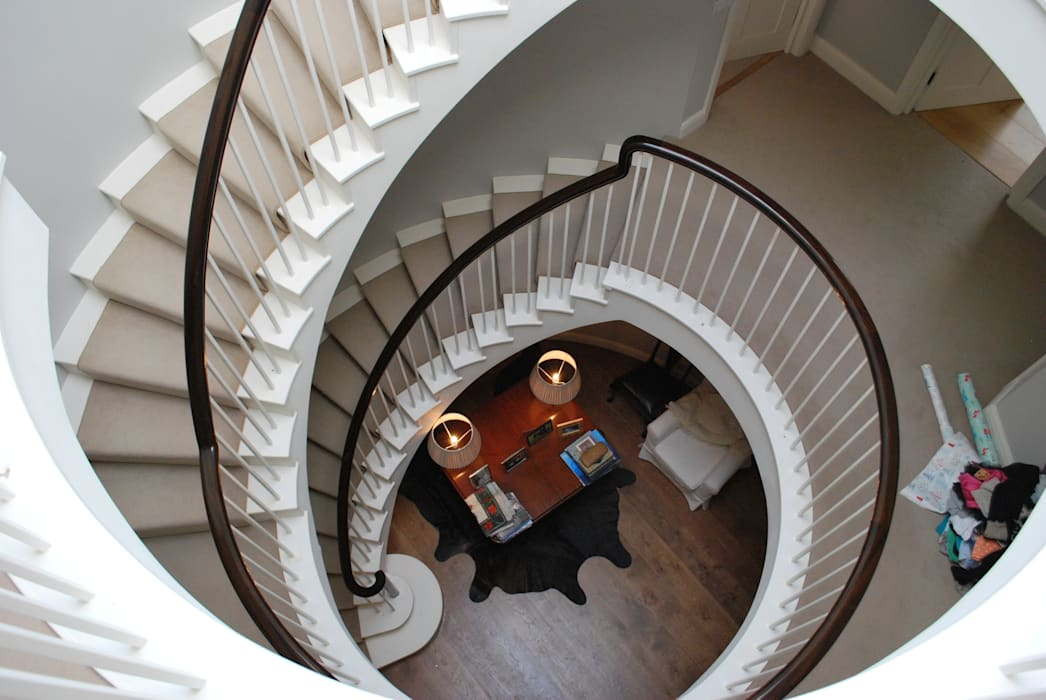 Looking down Giles Jollands Architect Classic corridor, hallway & stairs
