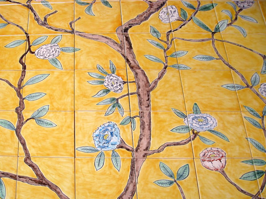 Chinese wallpaper tile panel detail.: asian Bathroom by Reptile tiles & ceramics