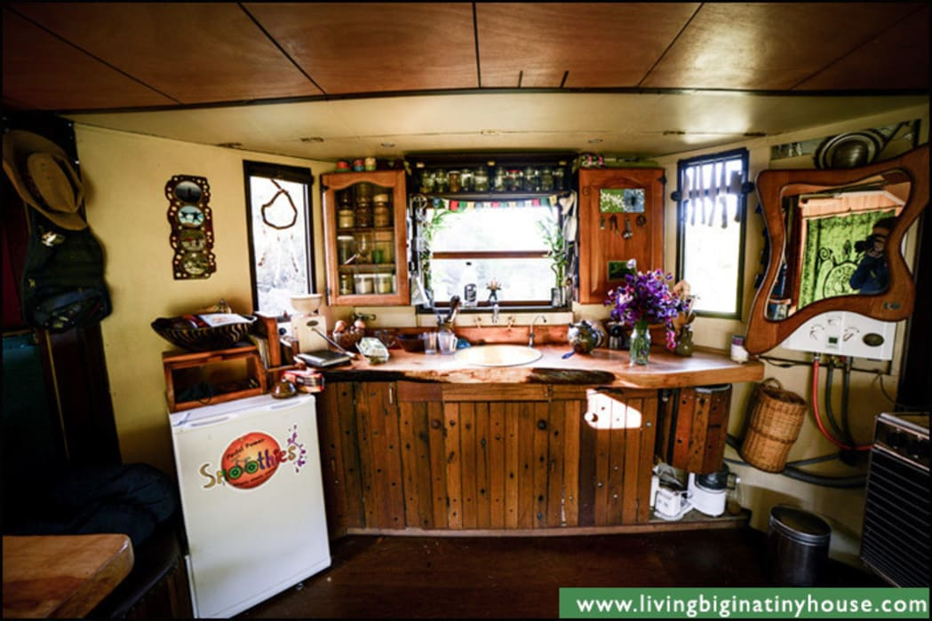 Transforming Castle Truck Living Big in a Tiny House Eclectic style kitchen