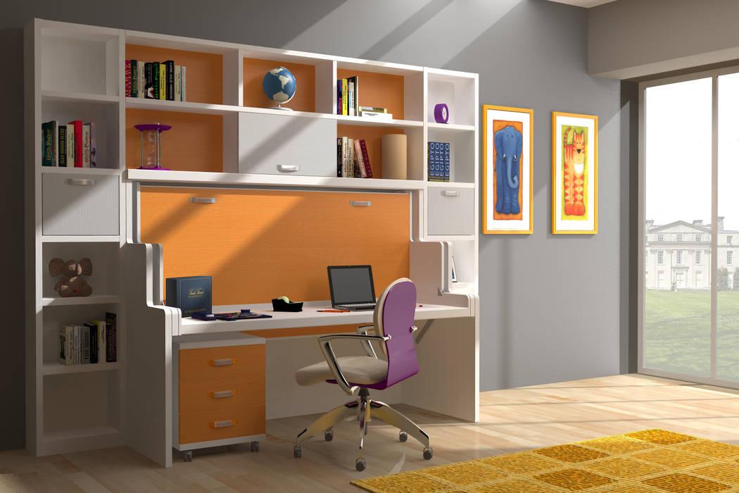 Modelo de mueble cama abatible con libreria de estilo de for Muebles juveniles abatibles