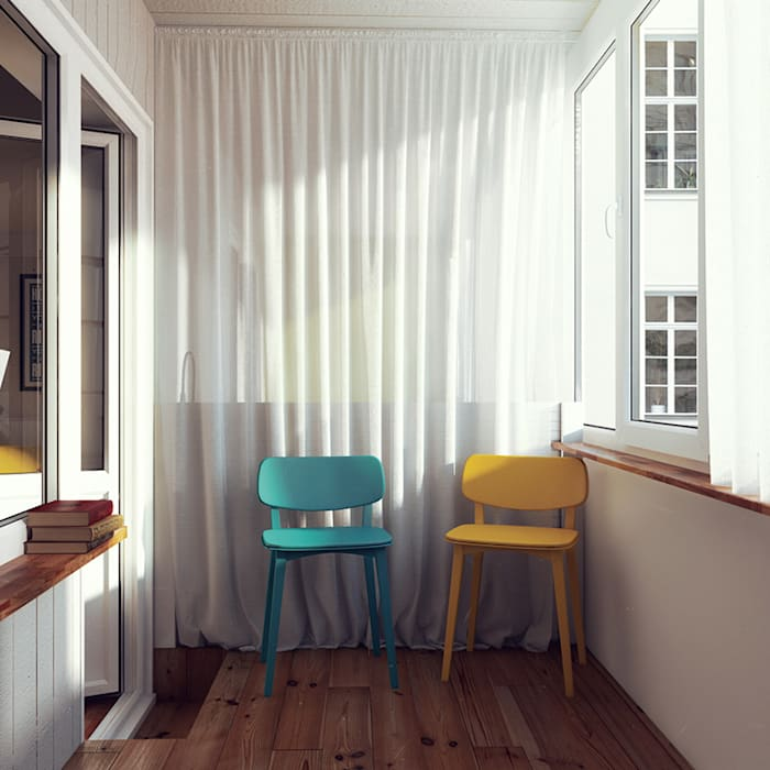 Scandinavian style balcony, veranda & terrace by sreda Scandinavian