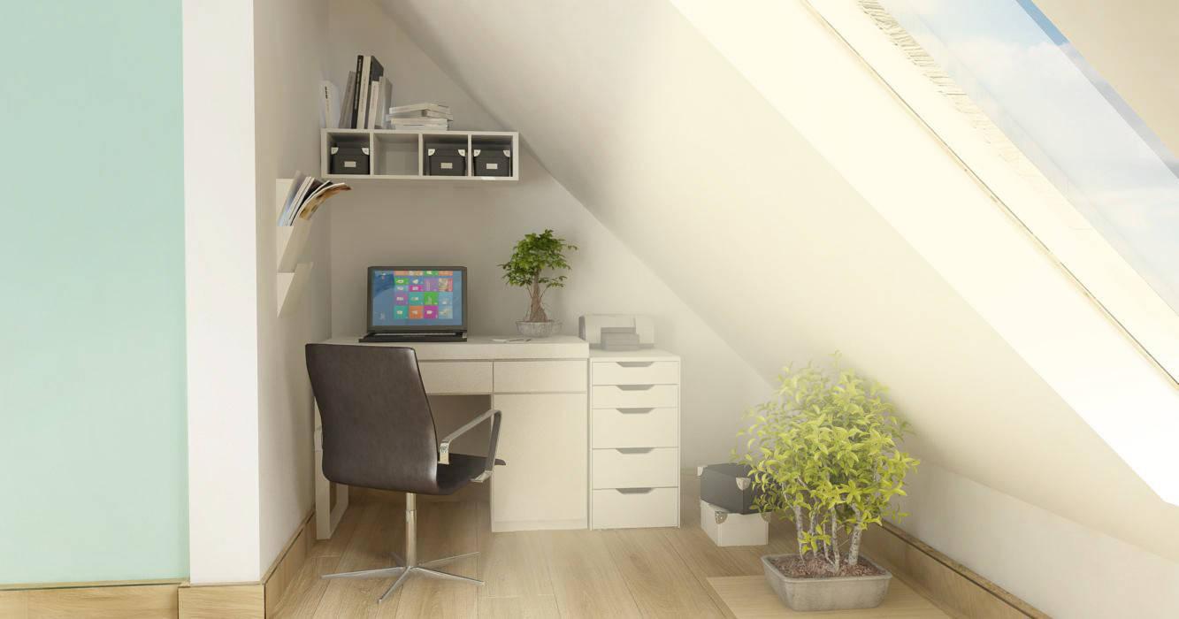Salon z biurem i kuchnią na poddaszu - styl skandynawski: styl , w kategorii Domowe biuro i gabinet zaprojektowany przez D2 Studio