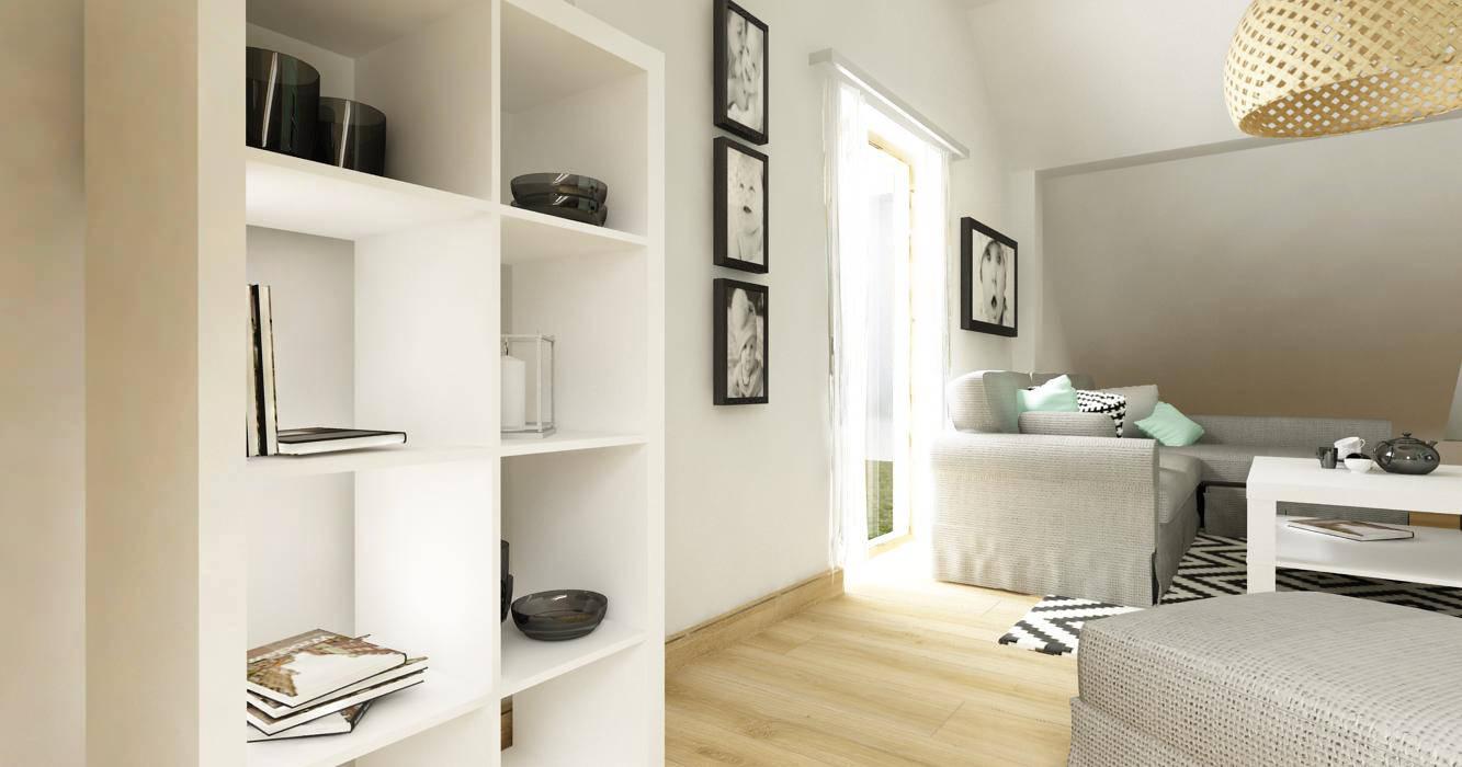 Salon z biurem i kuchnią na poddaszu - styl skandynawski Skandynawski salon od D2 Studio Skandynawski