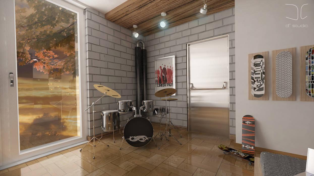 Nowoczesny pokój młodzieżowy dla miłośnika muzyki Nowoczesna sypialnia od D2 Studio Nowoczesny