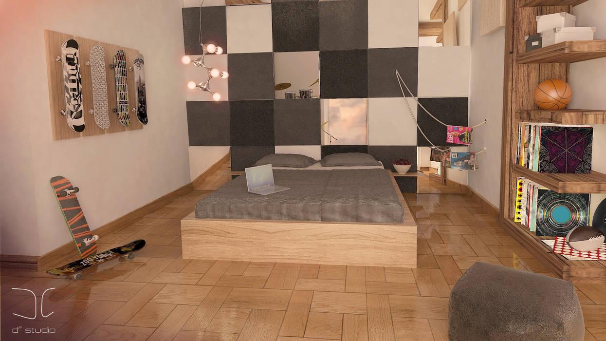 Nowoczesny pokój młodzieżowy dla miłośnika muzyki i spotu Nowoczesna sypialnia od D2 Studio Nowoczesny