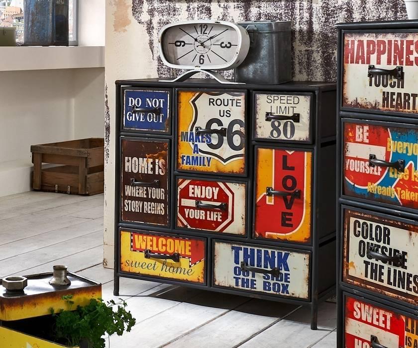 Kommode Viveta 80x82 Mehrfarbig Vintage 8 Schubladen: ausgefallene Wohnzimmer von DELIFE