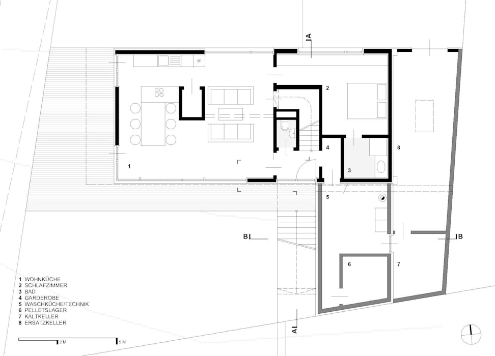Grundriss EG: modern  von g.o.y.a. Architekten,Modern