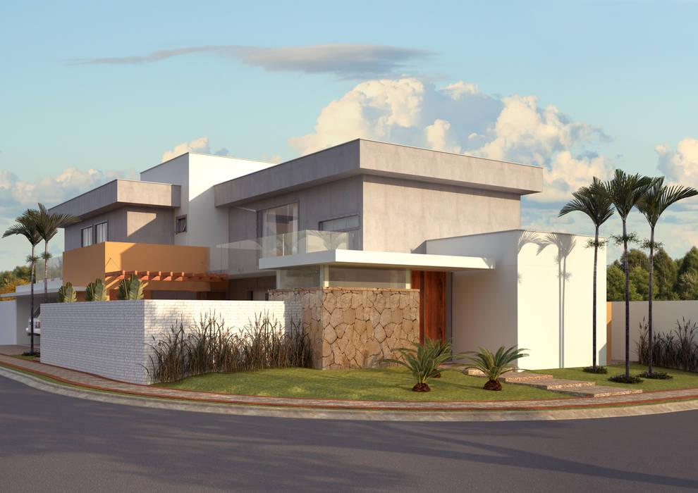 FACHADA ESQUINA: Casas  por Raquel Pelosi Arquitetura e Design Visual