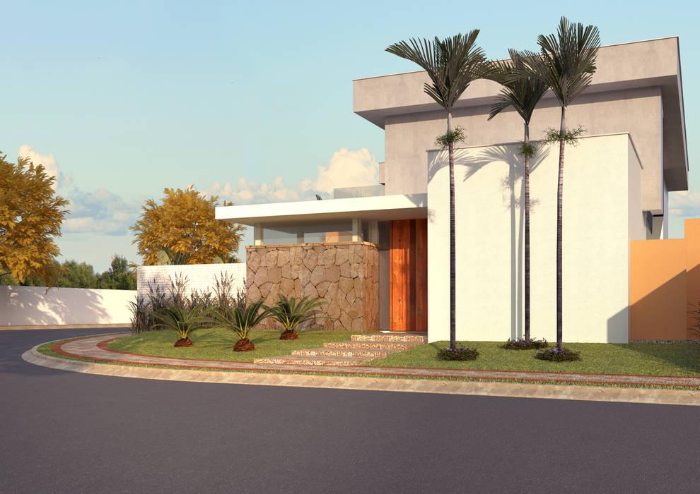 FACHADA ACESSO SOCIAL: Casas  por Raquel Pelosi Arquitetura e Design Visual